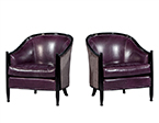 Pair of Art Deco Lounge Chairs in Dark Purple Leather