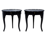 Pair of Black Lacquered Side Tables
