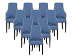 Set of Ten Carrocel Custom Blue Parsons Chairs