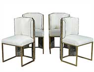 Set of Four Vintage Italian Brass Side Chairs