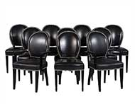 Set of Ten Round Black Lacquered Dining Chairs