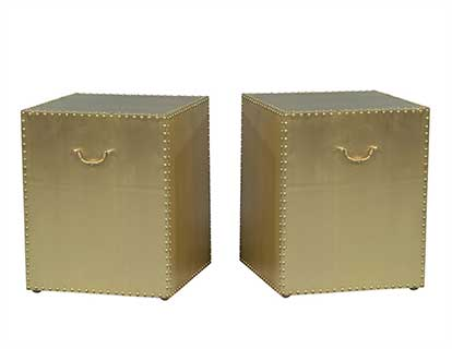 Bernhardt Brass Cube Side Tables