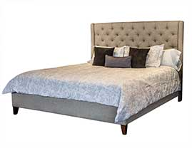 Bay Belgian Linen Tufted King Size Bed