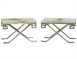 Pair of Grey Hide and Greek Key Framed Stools