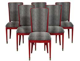 Set six red deco lacquered dining chairs
