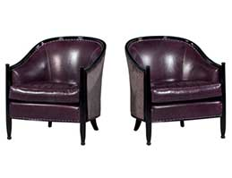 Pair art deco lounge chairs dark purple leather