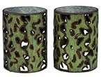 Pair distressed metal cylinder end tables
