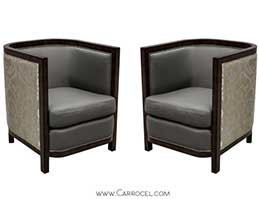 Pair of custom made art deco zebrano wood livingroom chairs