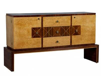 Art deco style birds eye rosewood buffet