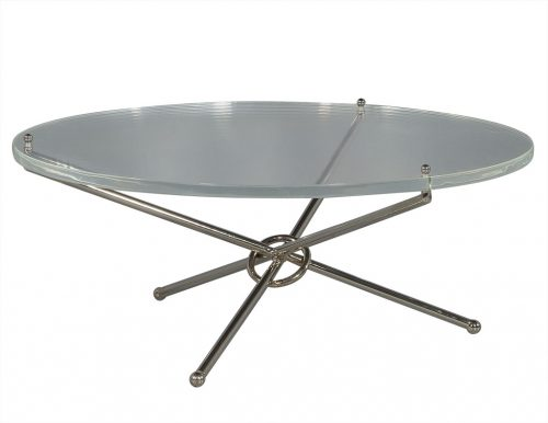 Round Lucite and Polished Nickel Cocktail Table
