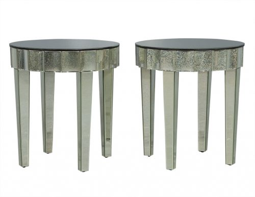 Pair of Round Antique Glass End Tables