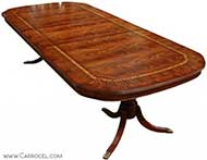 Custom flamed inlaid mahogany dining table beaded skirt