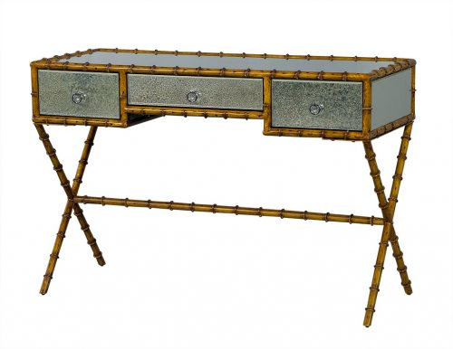 Faux Bamboo and Antique Glass Console