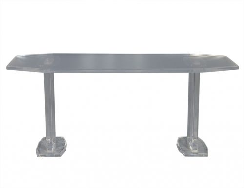 Vintage Angular Double Pedestal Lucite Dining Table