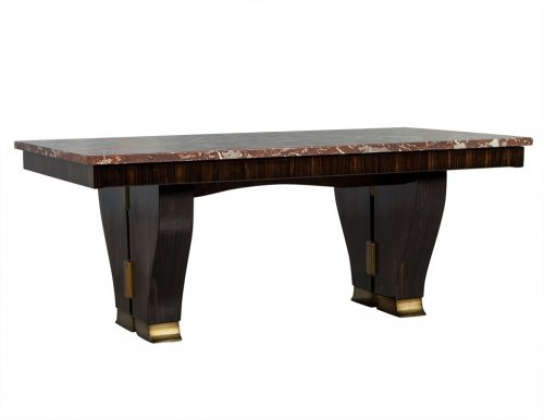 Unique French Art Deco Marble Top Dining Table