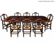 High quality flamed mahogany duncan phyfe high gloss dining tableset