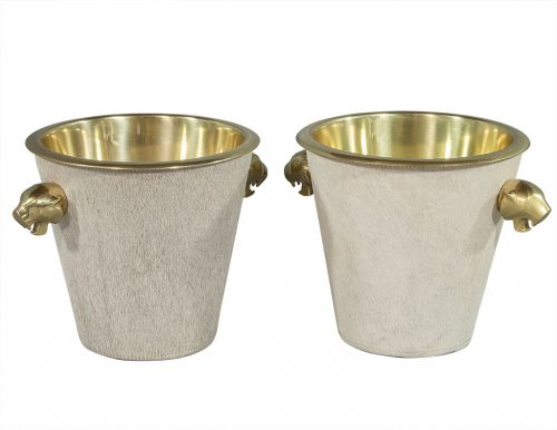 Polished Brass and Hide Ice Bucket
