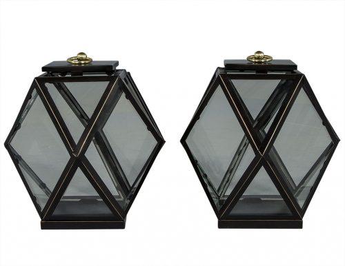 Pair of Hanging Diamond Lanterns in Black