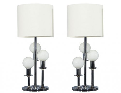 Pair of Mid Century Globe Table Lamps
