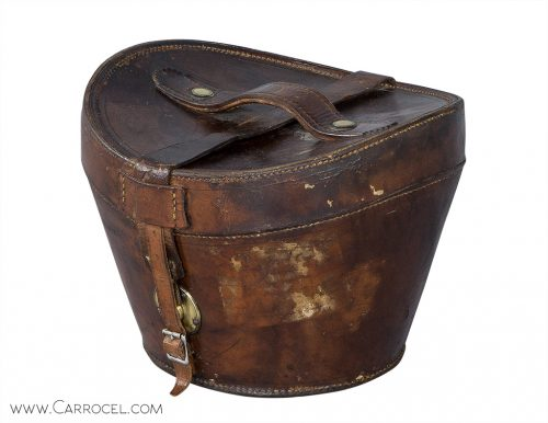 English Leather Top Hat Box From the 19th Century