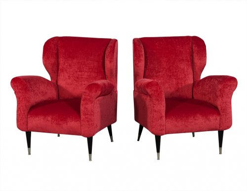 Mid Century Modern Plush Red Lounge Chairs