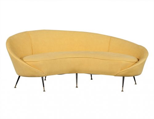 Retro Crescent Shaped Sofa in Manner of Federico Munari