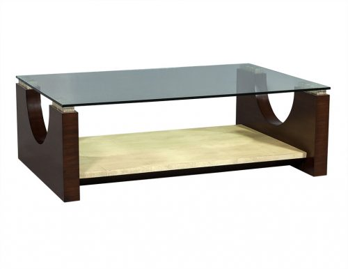 Modern Rosewood and Parchment Glass Top Cocktail Table