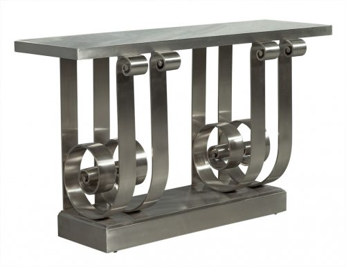 Stunning Polished Stainless Steel Marble Top Console Entrance Table by Famous American Designer