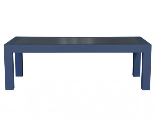 Carrocel Custom Modern Glass Top Parson's Style Glass Top Dining Table