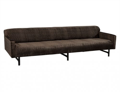 Milo Baughman Extra Long Sofa in Wavey Velvet