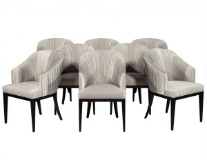 Set of 8 Carrocel Custom Grey Pleated Dining Chairs