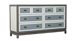 Custom Grey and White Eight-Drawer Antique Mirrored Commode