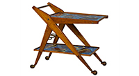 Italian Hand-Painted Ceramic Serving Cart