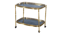 Polished Brass and Glass Bar Serving Cart