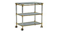 Vintage French-Style Brass, Glass, and Lucite Serving Cart