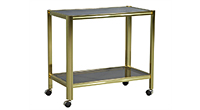 Vintage Satin Brass Bar Cart