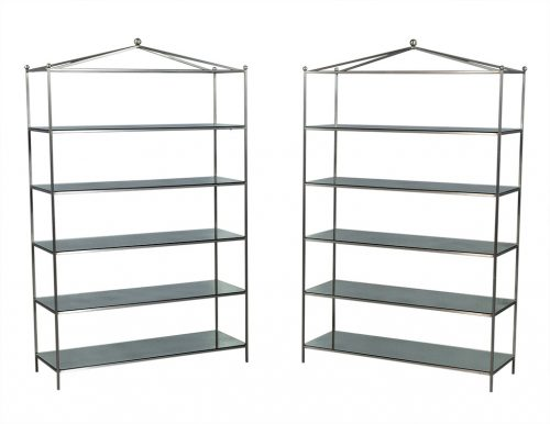 Pair of Stainless Steel and Antique Mirrored Etageres