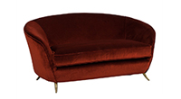 Carrocel Revival Curved Back Retro Settee in Burnt Orange Mohair