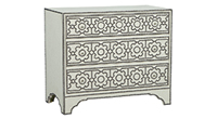 Modern Linen-Wrapped Chest with Decorative Nail Trim