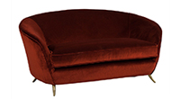 Carrocel Revival Curved-Back Retro Settee in Burnt Orange Mohair