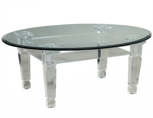 Oval Modern Acrylic and Glass Cocktail Table