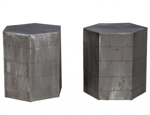 Pair of Steel Industrial Hexagon End Tables