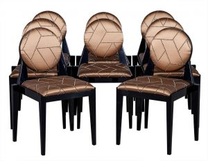 Set of 8 Carrocel Custom Deco Inspired Arrondi Dining Chairs