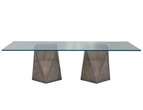 Custom Glass Top with Geometric Pedestal Dining Table