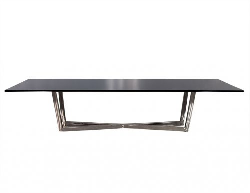 Carrocel Custom Modern Brushed Steel X Base Black Lacquer Dining Table