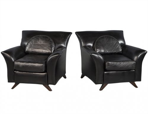 Pair of Black Leather Oversize Bat Wing Style Parlor Chairs