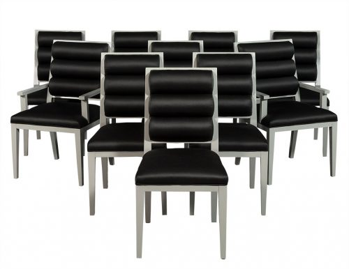 Set of 10 Deco Style Roll Back Dining Chairs