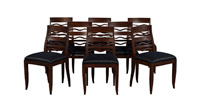 Set of 8 – 1940s Art Deco Dining Chairs with Wave-Back Feature