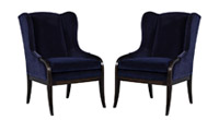 Pair of Blue Velvet Wing Chairs