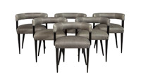 Set of 6 – Sleek Mid-Century Modern Curve-Back Dining Chairs